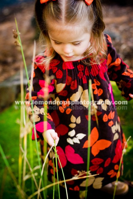 two year old picking grass
