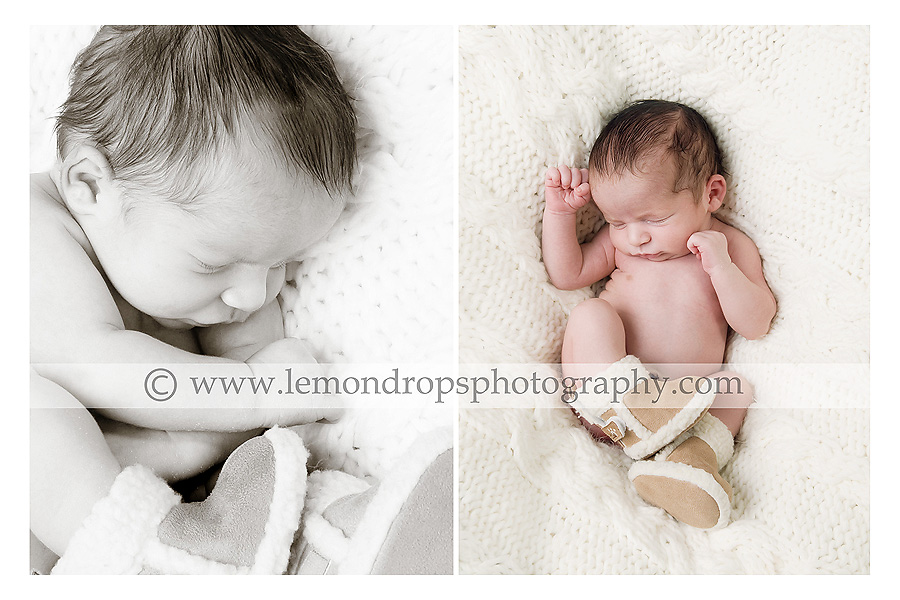 newborn baby photography - baby in boots